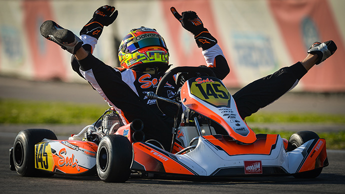 1st Bas Lammers wins the KZ championship using a T9VG Tillett seat on his Sodikart chassis